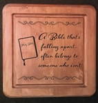Laser Carved Wooden Plaque A Bible Falling Apart.....