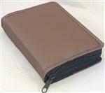ZIPPERED LEATHER SLIP-ON REGULAR BIBLE COVER